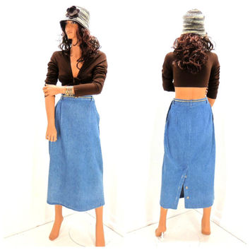 Vintage 80s denim maxi skirt, size 7 / 8, 1980s long jean skirt, high waisted denim midi skirt, made in USA, SunnyBohoVintage