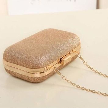 2017 Women Hasp Clutch Glitter Box Evening Party Chain Small Hand Bags Wallet