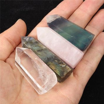 Overvalue 4Pcs Natural Fluorite Feldspar Quartz Crystal Rock Stone Point Wand Healing Gemstone Ornaments For Home Decor Crafts