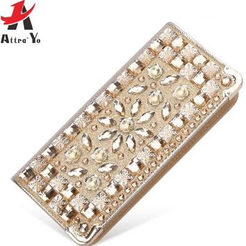 Atrra-Yo women wallets rhinestone patent leather wallet high quality brands party purse female pouch lady dollar price LM4110ay