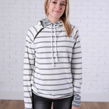 Grey and White Stripes Double Hoodie