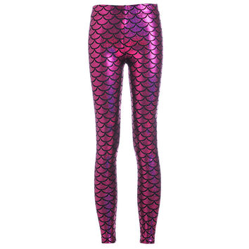 Sexy Workout Legging Elastic Plus Size Women Scale Fitness Fish scales Simulation Mermaid Pants Digital Print Colorful Leggins