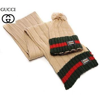 """Gucci"" Women Winter Knit Warmer Hat Cap Scarf Set Khaki I"
