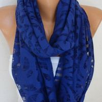 Royal Blue Lace Infinity Scarf Mother's Day Gift Spring Summer Scarf Cowl Circle Loop Oversized Gift Ideas For Her Women Fashion Accessories