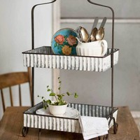 Whitewash Corrugated Two-Tier Tabletop Caddy