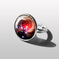 RING RED STAR Jewelry Nebula Galaxy Adjustable Ring. Gift for Women (Mum) and Girls (sister).