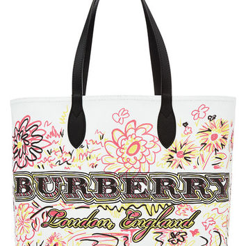 The Medium Doodle Reversible Tote with Leather - Burberry | WOMEN | US STYLEBOP.COM