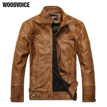 Woodvoice Brand Motorcycle Leather Jackets Male Business casual Coats Men Winter Leather Clothing Men Leather Jackets 815