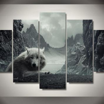 White Wolf Mystic 5-Piece Wall Art Canvas