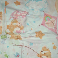 Vintage Care Bears 1982 Twin Flat Bed Sheet Only American Greetings Corp