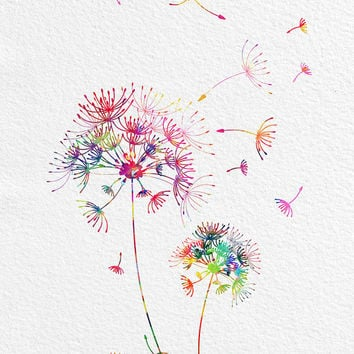 Printable Dandelions Instant Download digital print dandelion flowers downloadable illustration archival quality files digital poster