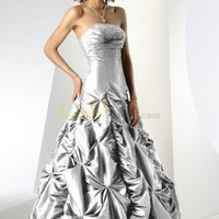 Slim Strapless Ruched Beaded Floor Length Satin Ball Gown - US$195.99 - Goldwo.com