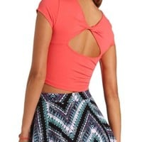 Twist Back Cotton Crop Top by Charlotte Russe - Coral