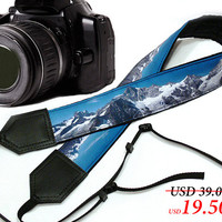 Mountain Camera Strap. Landscape camera strap. Black and blue DSLR / SLRCamera Strap. Camera accessories. Photographer gift by InTePro