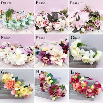 Women Wedding Flower Wreath headband Kids Party Floral garlands Ribbon Adjustable flower crown Studio Photos Hair Accessories