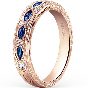 "Kirk Kara ""Dahlia"" Marquise Cut Blue Sapphire Wedding Band"