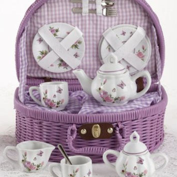 Childrens Porcelain Tea Set in Rounded Wicker Style Basket - Butterfly