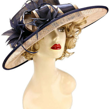 Kentucky Derby Wedding Party Hat Sequin Sinamay Hat - Navy Blue