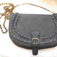 Vintage T Shirt and Jeans Brand ~ Cross body Bag with Brass Beads strap ~ Small Black saddle