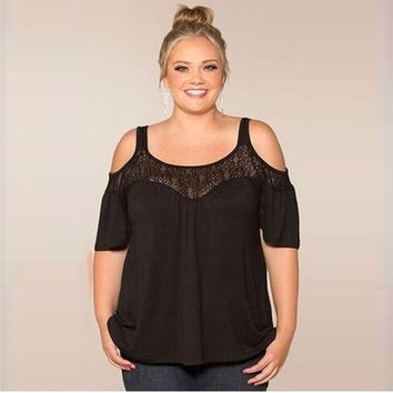 Plus Size O-Neck Lace Top