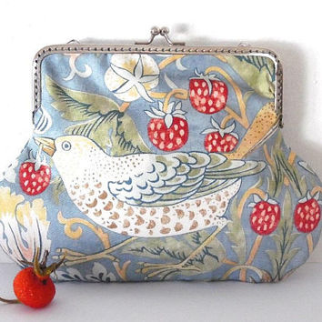 Bird print purse / grey / green  / pink / strawberry / feather / harvest / cotton / lined / silver / gift / clutch / wallet / large purse