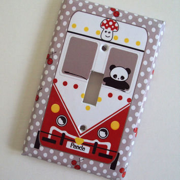 Cute Kawaii Panda Bus Light Switch Cover Your Choice of Colors