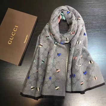 GUCCI Women Smooth Cashmere Warm Winter Cape Scarf Scarves