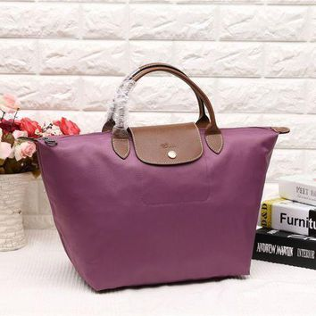 Longchamp Women's Nylon 1623 Foldable Tote Bag Light Purple Color