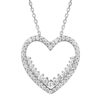 Sterling Silver Solitaire Heart Frame Pendant Valentine's Set