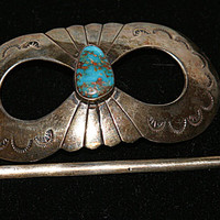 Native American, Sterling Silver, Vintage Barrette, Turquoise, Southwestern Jewelry, Gemstone Hair clip, Hair clasp