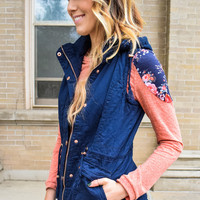 Faux Fur Lined Cargo Vest Navy