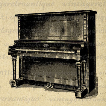 Antique Piano Digital Image Download Printable Graphic Vintage Clip Art Jpg Png Eps 18x18 HQ No.1222