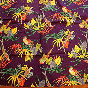 Vintage Cotton 1960s Fabric Novelty Parrots Hummingbirds Bird Fabric Purple