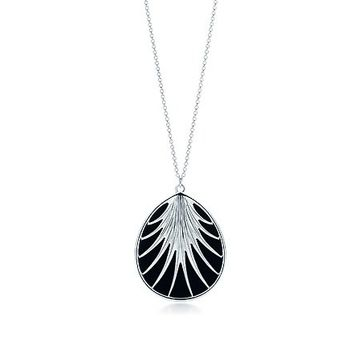 Tiffany & Co. -  Villa Paloma palm pendant in sterling silver with black onyx, large.