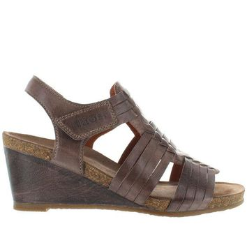 VONES2C Taos Tradition - Dark Taupe Leather Huarache-Style Wedge Sandal