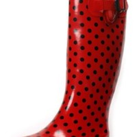 Rain Boots Rubber Women New Size Snow Wellies Polka Dot Plaid Leopard Zebra Knee High Flat Black Beige Red Pink White Dots S Styles Rainboots Boot Sizes (5, Red Dot)