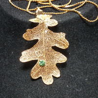 Gold Dipped Oak Leaf Rhinestone Necklace