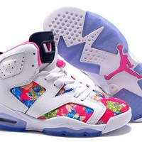Hot Nike Air Jordan 6 Retro Women Shoes Colorful White Blue