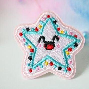 Lucky star patch,Cute,Gorgeous,Iron on patch , Applique, Embroidered ,Sew on ,High quality,For denim jacket ,Sew-on