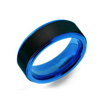 Ice King - Men's Black And Blue Tungsten Band