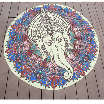 Round Elephant Indian Bohemian Mandala Tapestry Throw Yoga Mat Beach Towel Blanket