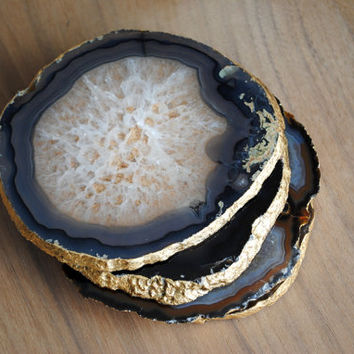 Agate Slice Coasters - Gold Leaf Edging