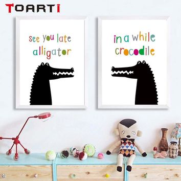 nordic poster Cartoon Animal two alligator talk wall art Poster Baby Kids Room  Wall Art Print Picture Canvas Painting Home Deco