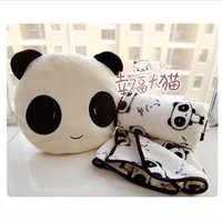 Super cute plush panda toy doll cushion dual-purpose pillow/warm blanket decorative pillows stuffed toy birthday gift for girls