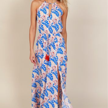 Adventure Island Maxi Dress Peach/Blue