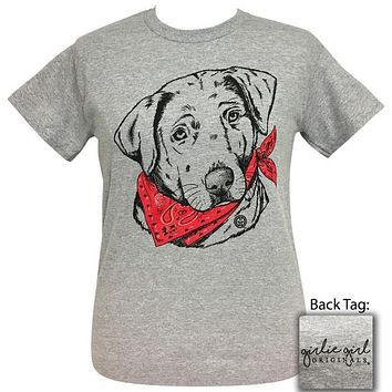 Girlie Girl Originals Preppy Bandana Lab Dog Grey T-Shirt