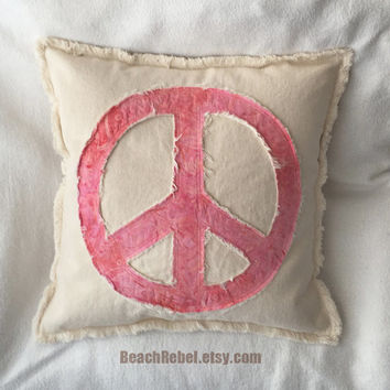 Peace sign pillow cover with pink batik and distressed natural denim 16""