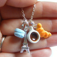Breakfast in Paris Cluster Pendant Necklace - Miniature Food Jewelry