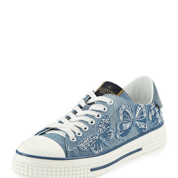 Valentino Garavani Butterfly-Embroidered Denim Sneaker, Light Denim