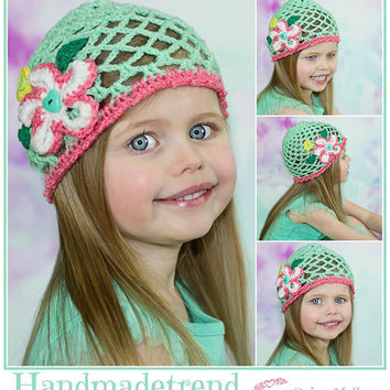 Toddler summer beanie, pastel beanie, mint green hat, cute girl hat, 4t crochet gift, pretty hats, bright colorful, junior kid clothes